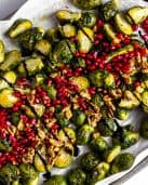 Roasted Brussels Sprouts with Pomegranates and Toasted Walnuts #pomegranate #brusselssprouts #tararochfordnutrition