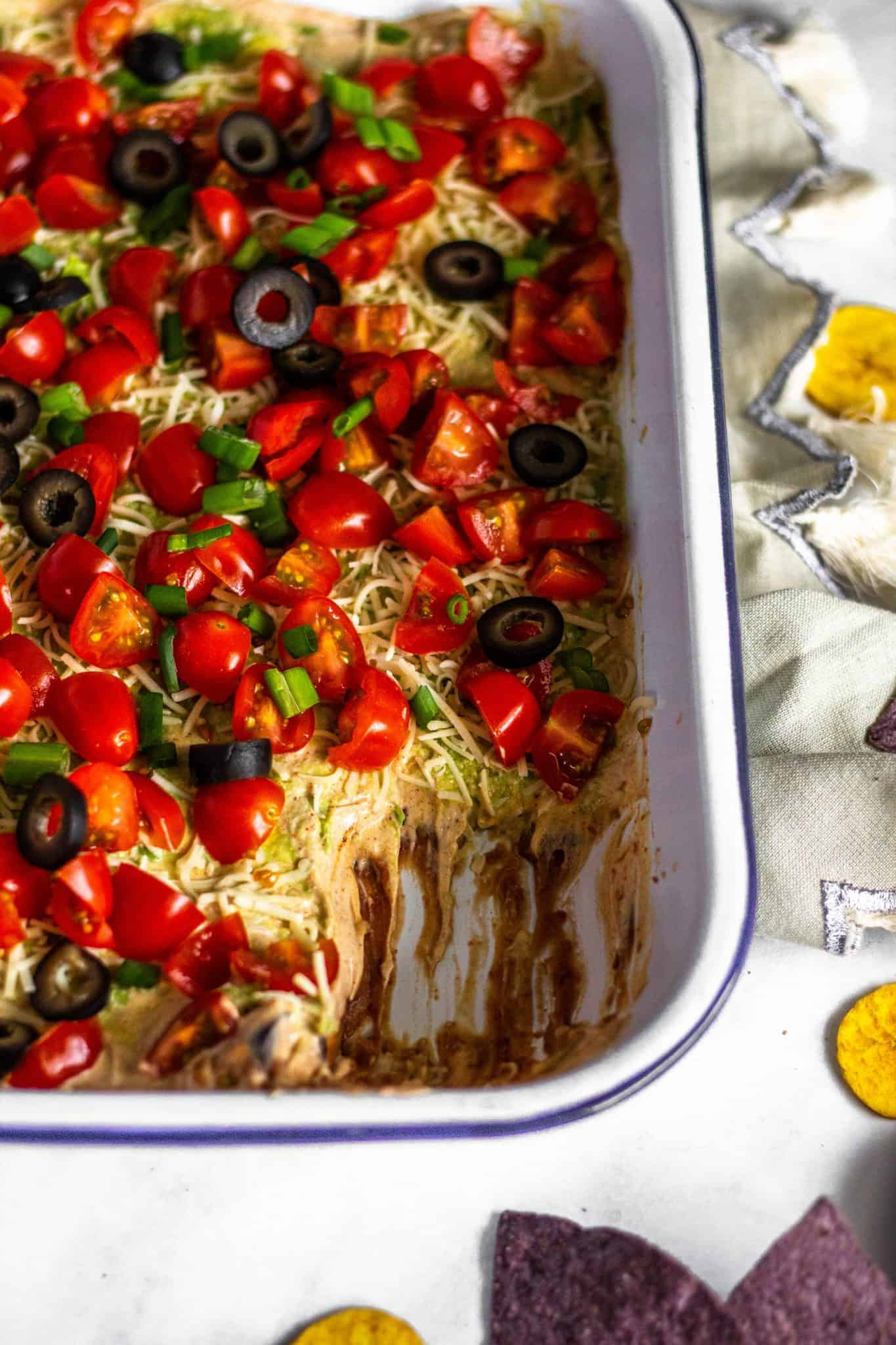 low FODMAP Healthy 7 Layer Dip #tararochfordnutrition #healthyappetizer