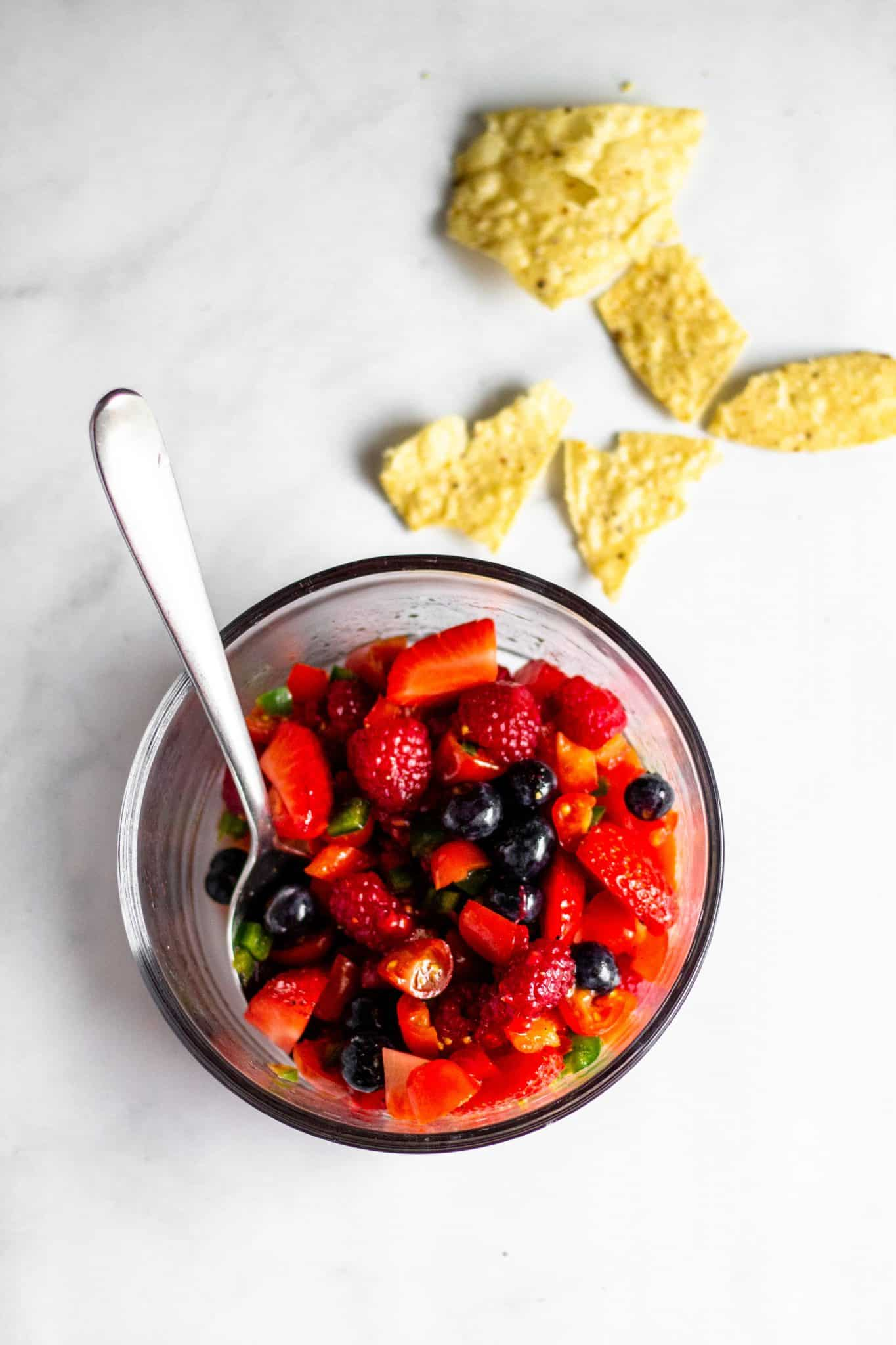 Red and Blue Berry Fruit Salsa #lowfodmap #tararochfordnutrition