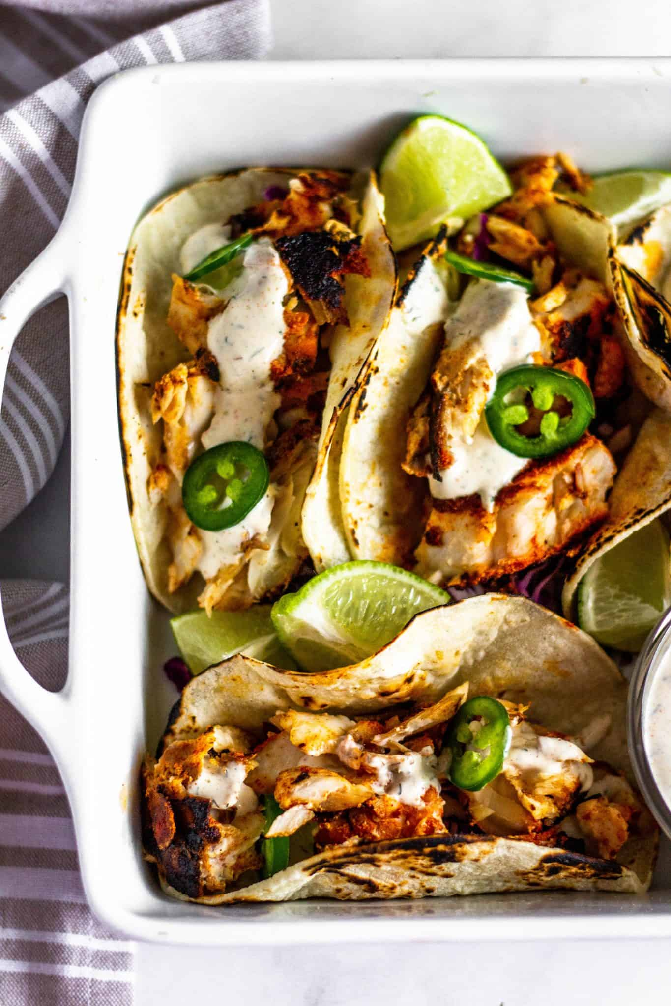 Low FODMAP Fish Tacos #lowfodmaprecipe #tararochfordnutrition