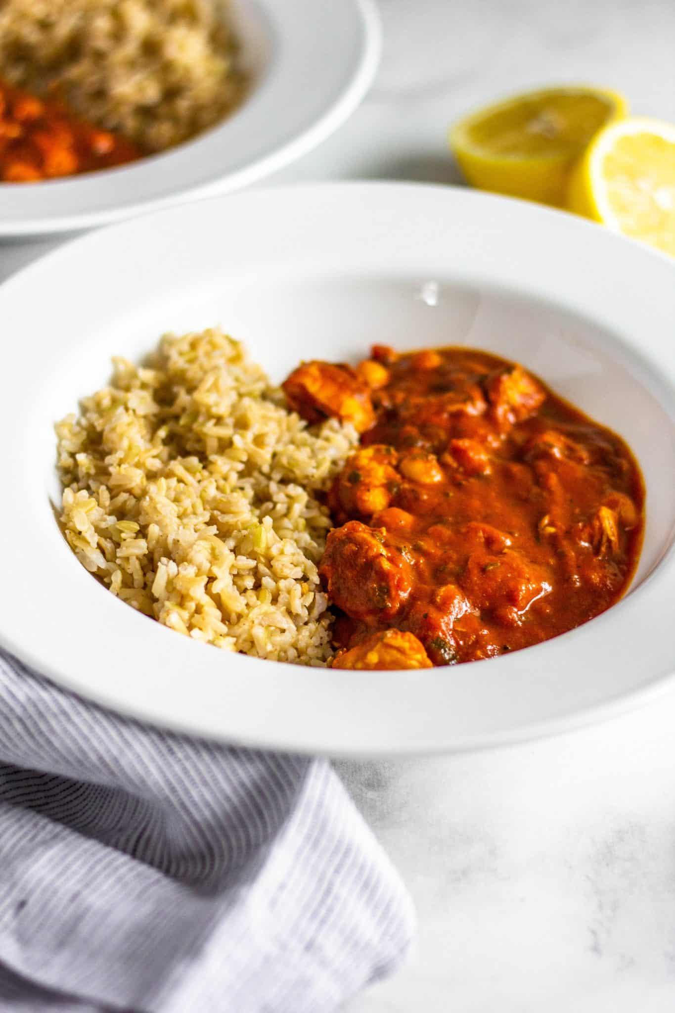 low FODMAP Chicken and Chickpea Tikka Masala #lowfodmap #healthyrecipe #tararochfordnutrition