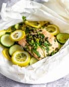Lemon-Caper Fish and Veggies En Papillote #tararochfordnutrition #healthydinner
