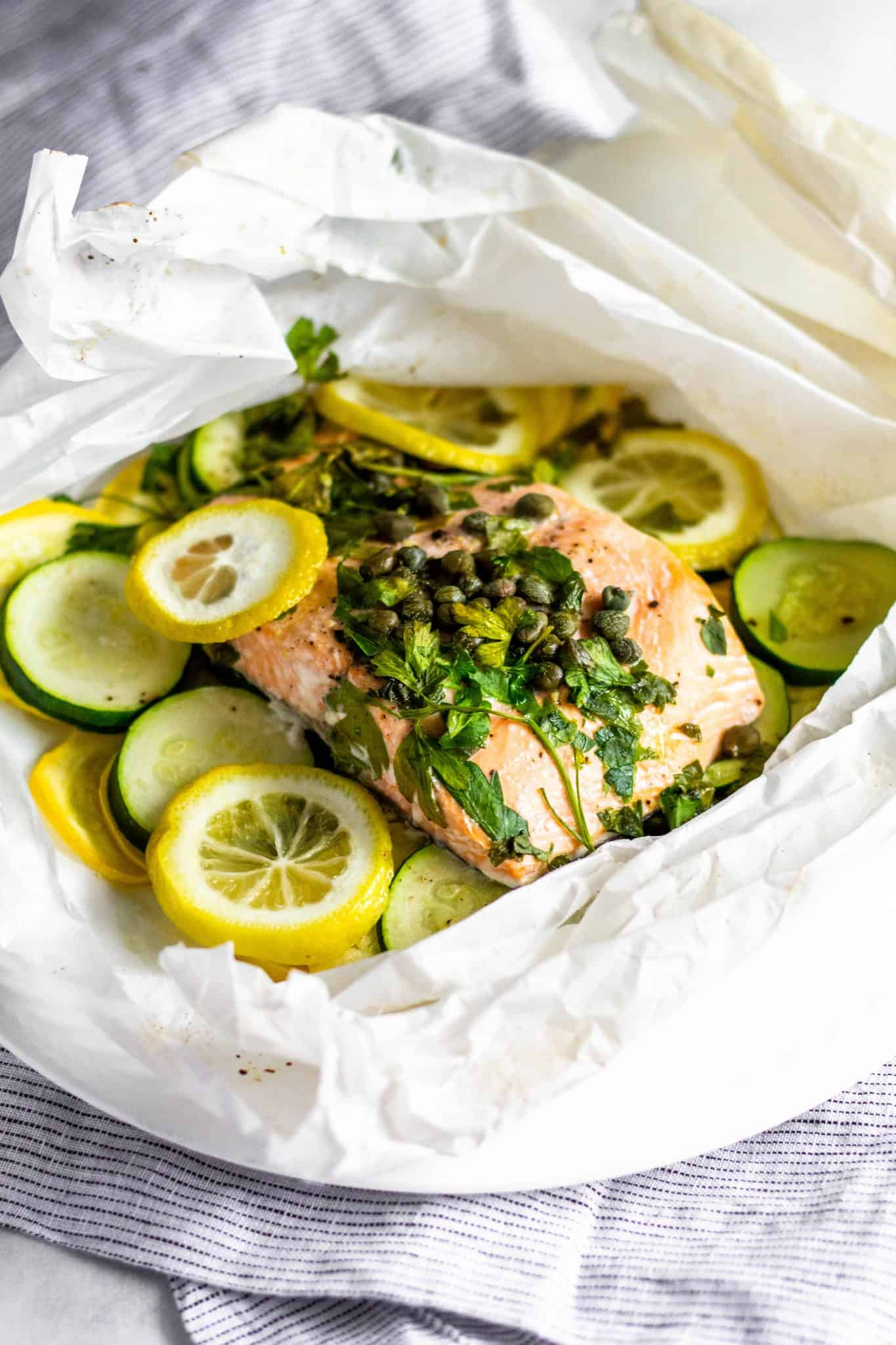 Lemon-Caper Fish and Veggies En Papillote #tararochfordnutrition #healthydinner