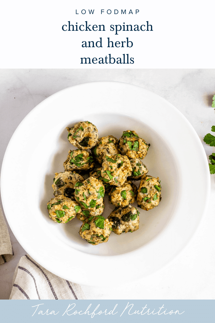 Spinach and Herb Chicken Meatballs #lowfodmap #tararochfordnutrition