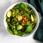 Brussels and Greens Salad with Roasted Sweet Potatoes, Pecans and Cranberries