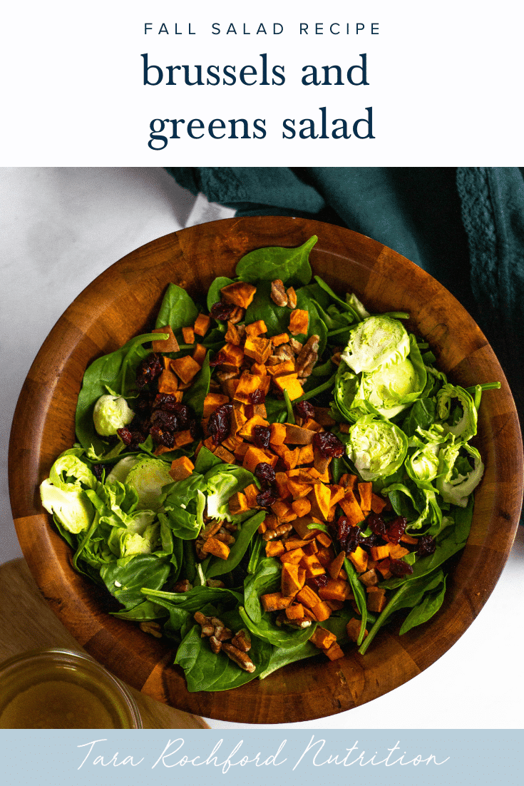 Brussels and Greens Salad with Roasted Sweet Potatoes, Pecans and Cranberries #fallsalad