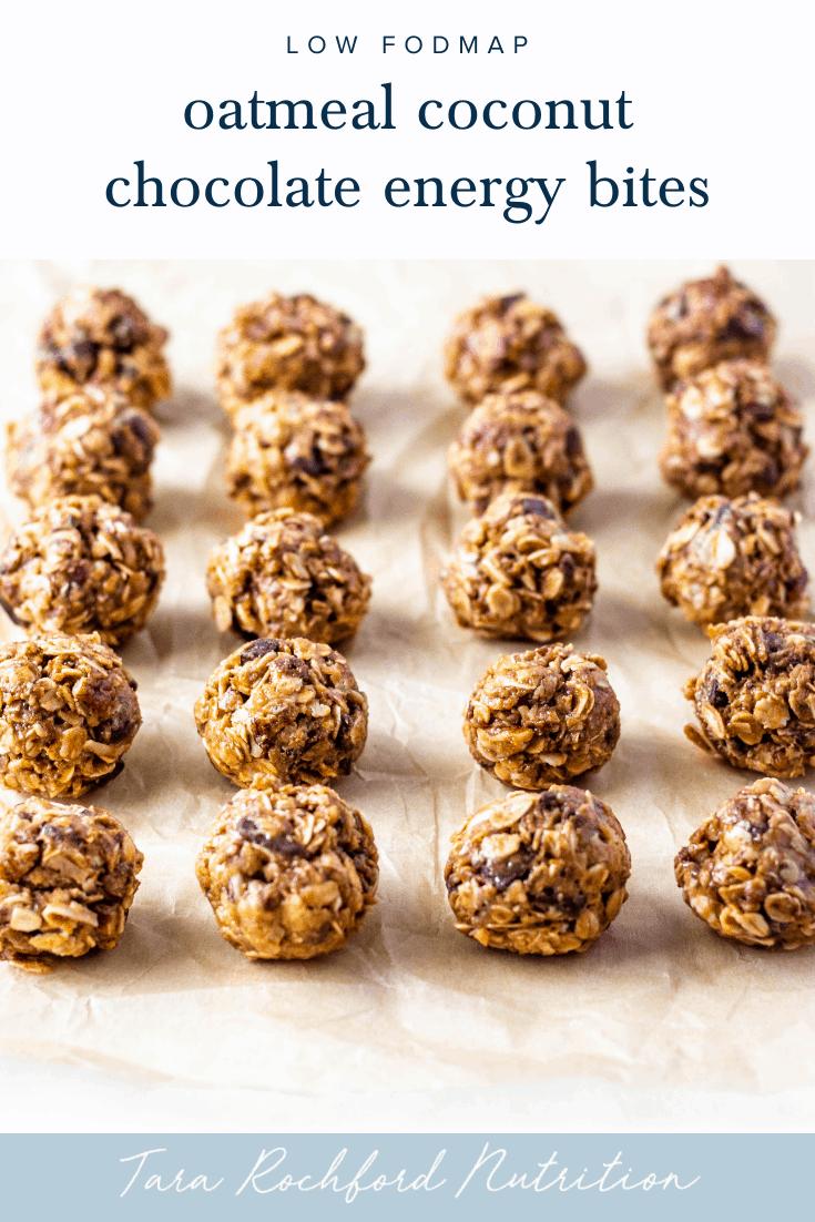Oatmeal Coconut Chocolate Energy Bites #energybites #lowfodmap #tararochfordnutrition